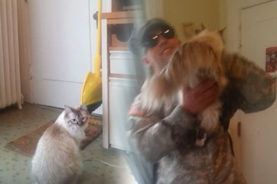 Soldier Is About To Come Home After Drills. Cat Has Been Waiting So Long, Knows Just What To Do
