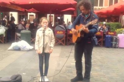 Young Girl Joins Street Performer To Sing 'Ave Maria.' When She Opens Her Mouth, Instant Chills