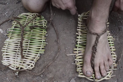 Primitive Technology Guy Shows Us How To Make Sandals In The Middle Of The Woods