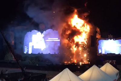 Towering Inferno Erupts At Music Festival Tomorrowland In Barcelona