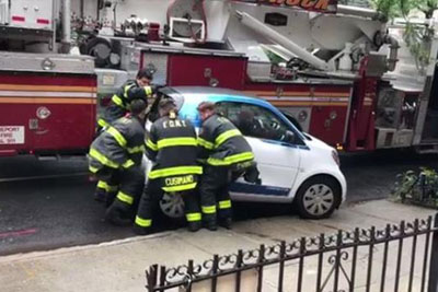 Smart Car Was Blocking Emergency Route, Then New York Firefighters Did This