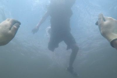 Scaring People From Underwater At The River Is A Big Shock For Swimmers