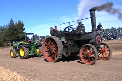 Modern John Deere Tractor Plays Tug Of War With An Old Steam Tractor