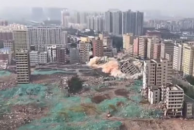 Watch This Chinese City Demolish 36 Buildings In Just 20 Seconds
