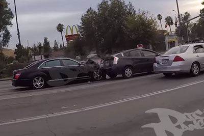 Driver Makes A Hit And Run, Then Motorcyclist Chases Him Down