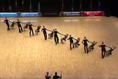 8 Couples Form A Diagonal Line On The Floor. The Crowd Went Wild With Their Following Move