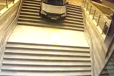 Driver Confuses Random Stairway With Parking Lot Entrance
