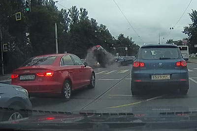 Russian Driver Crashes Into Stopped Cars At Intersection With Full Speed