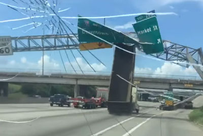 Shocking Moment In Houston Captured On Camera As Truck Hits Traffic Signs Above The Highway