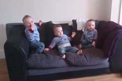 These Triplets Were Waiting For Their Dad. Watch Their Sweet Reaction When He Turns Up!
