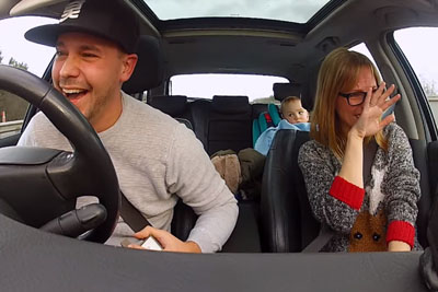 Boyfriend Is Rapping While Driving, Then His Girlfriend Bursts In Tears