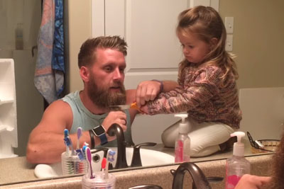 Little Girl Helps Daddy Shave His Beard. Asks Question That's Melting Everyone's Heart