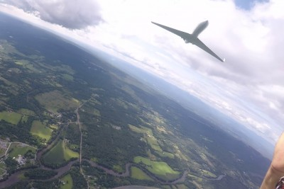 Skydiver Experiences A Close Call With Jet Plane