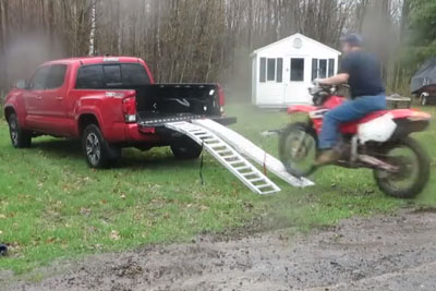 He Tried To Load His Bike Into Pickup, But He Failed Hard