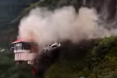 WATCH: Massive Landslide In India Sweeps Cars Over Cliff
