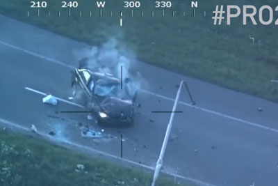 Police Helicopter Captures Brutal Car Accident When Following The Suspect