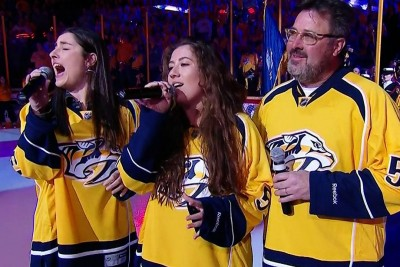 Vince Gill And Daughters Sing National Anthem, A Minute In They Hit A Note That's Going Viral