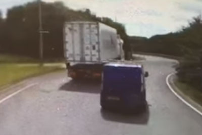 Tragedy From UK Captured On Camera, Driver Gets Crushed By A Trailer