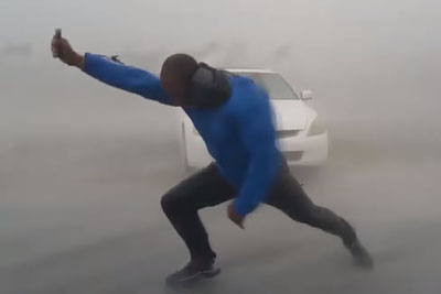 Meteorologist Simon Brewer Goes Outside To Measure Irma Wind Speed On Florida