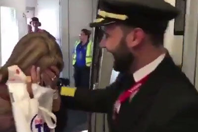Mother Boards The Plane. When She Finds Who Will Be The Pilot, She Bursts In Tears!