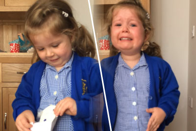 Little Girl Finds Out She Is Going To Have A Little Brother, Bursts In Tears
