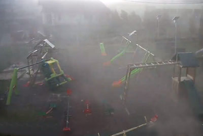Security Camera Captures Destructive Windstorm In Romania, Footage Will Shock You