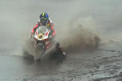 Rider Leon Orgis Takes A Long Detour Through The Mud On Superbike
