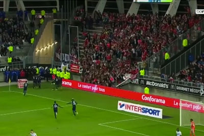 Shocking Moment When Stand Collapses At Amiens Stadium After Lille Scores A Goal