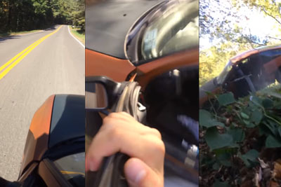 Dumb Driver Puts His Car In Neutral, Rolls Down A Hill And Crashes It Hard