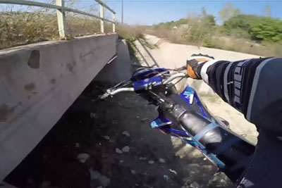 Motorcyclist Rides His Bike On Ditch, Makes A Shocking Mistake